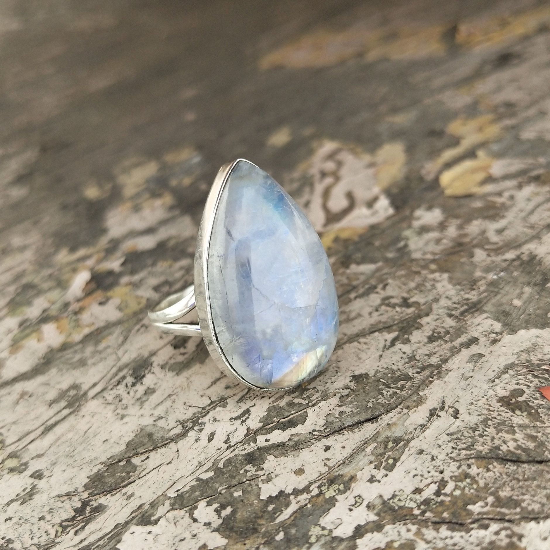 Nathis Rainbow Moonstone Gemstone Open Ring