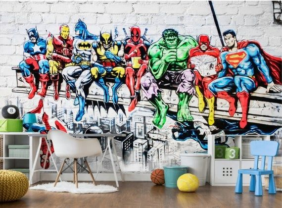 Superheroes Wallpaper Mural Boy's Room Removable Wall