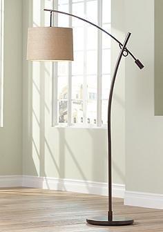 Tara Tan Weave Shade Balance Arm Arc Floor Lamp | Lighting ...