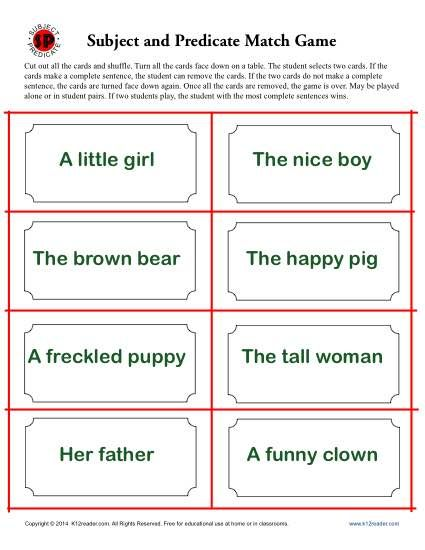 Subject And Predicate Match Game Parts Of Speech Subject