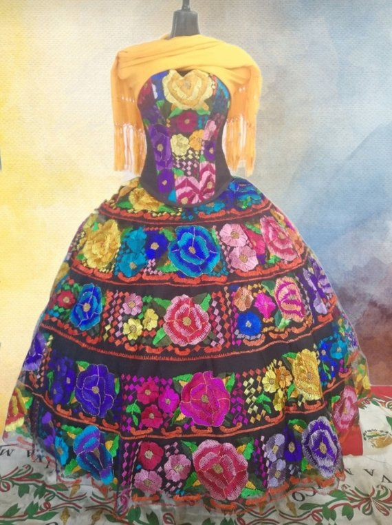 5bbe606c6 Quinceanera Dress. Chiapas Style. Mexican. Original Hand Embroidered ...