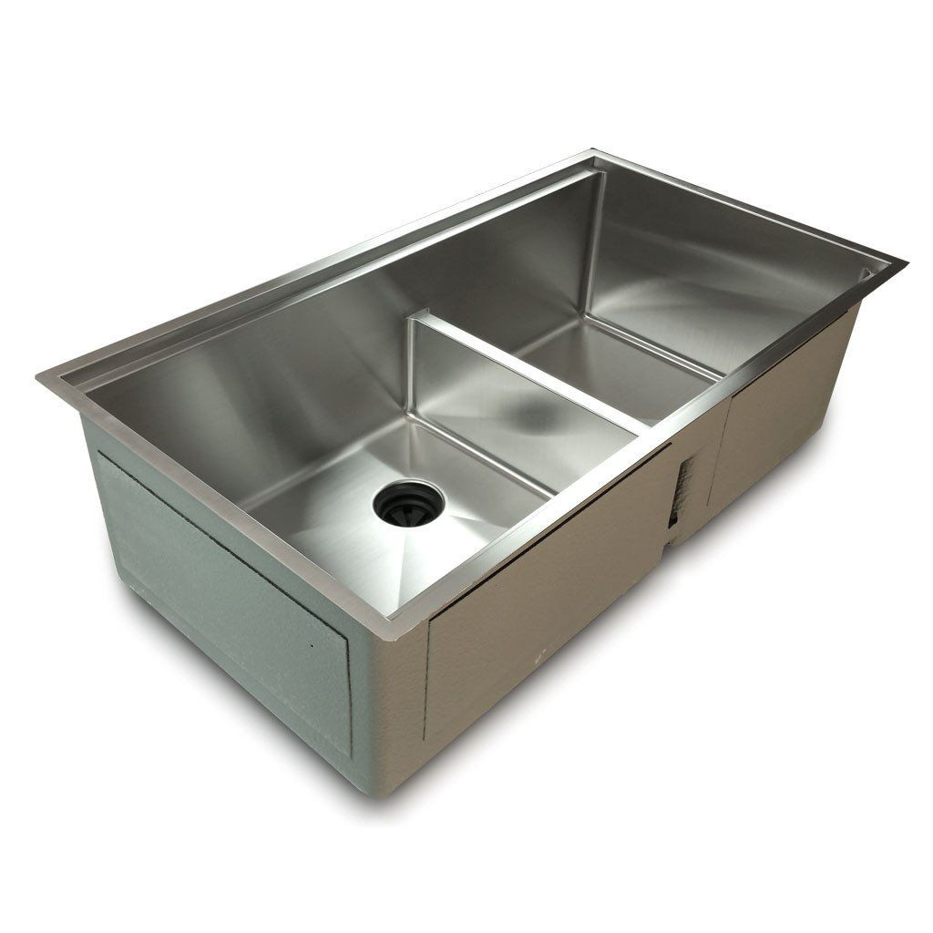 hahn kitchen sinks 1 2 Radius 34 Ledge Double Bowl Sink with low divide