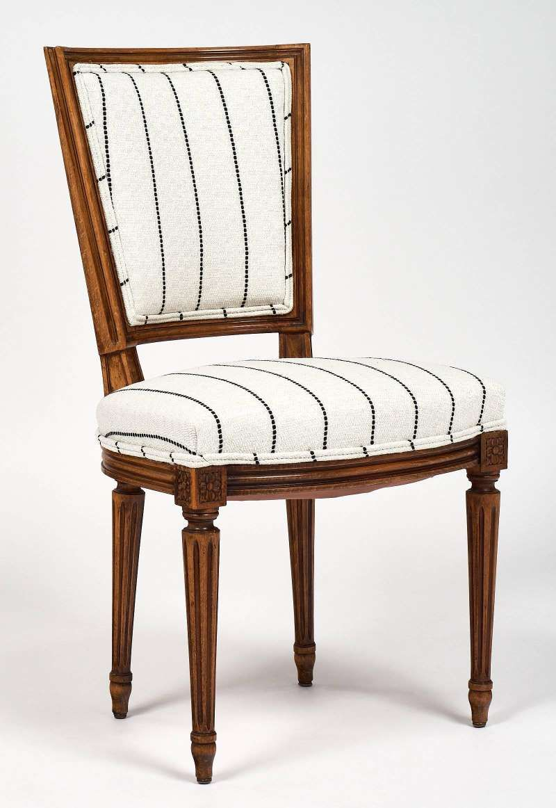 Six Striped Louis Xvi Style Dining Chairs Carved Dining Chairs