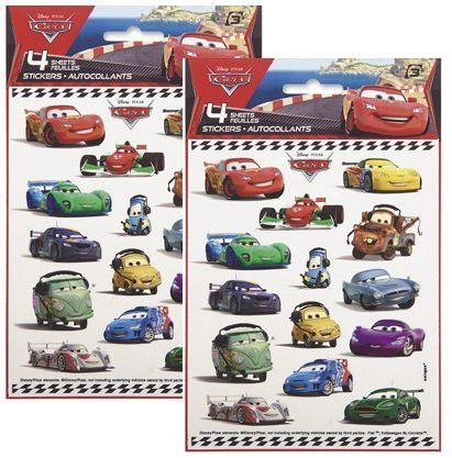 Disney Cars Character Favor Stickers For Eight ~ 8 Sticker Sheets ~ Lightning McQueen Tow Mater