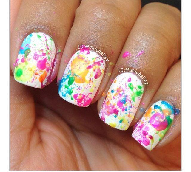Multicolored Paint Splatter Nails Nails Pinterest Splatter Nails