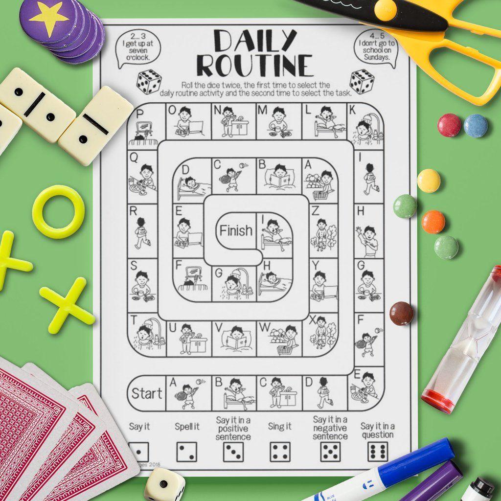 Esl Kids Daily Routine Board Game Speaking Activity