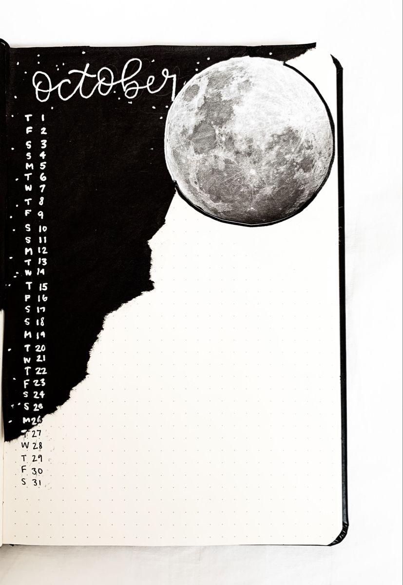 October Bullet Journal Theme Moon Bullet Journal Theme Bullet Journal Themes Bullet Journal Mood Moon Journal