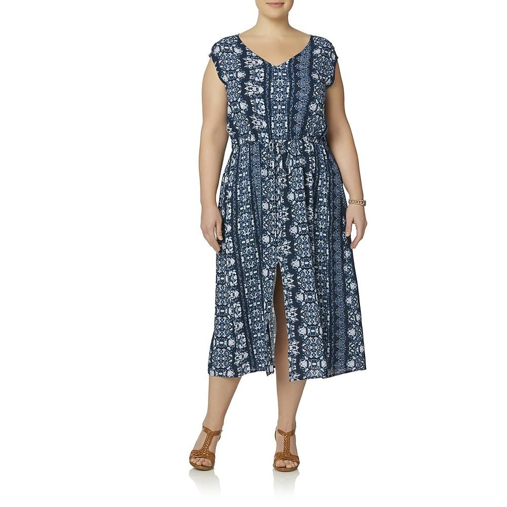 Simply Emma Women\'s Plus Sleeveless Maxi Dress - Floral ...