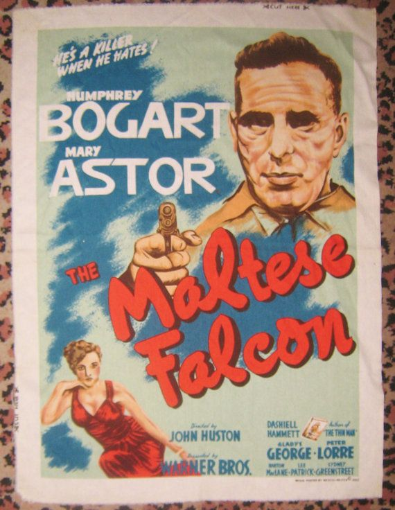 Vintage Barkcloth Fabric Panel Of The Maltese By Suchneatstuff 35 00 Bogart Movies Maltese Falcon Movie Barkcloth