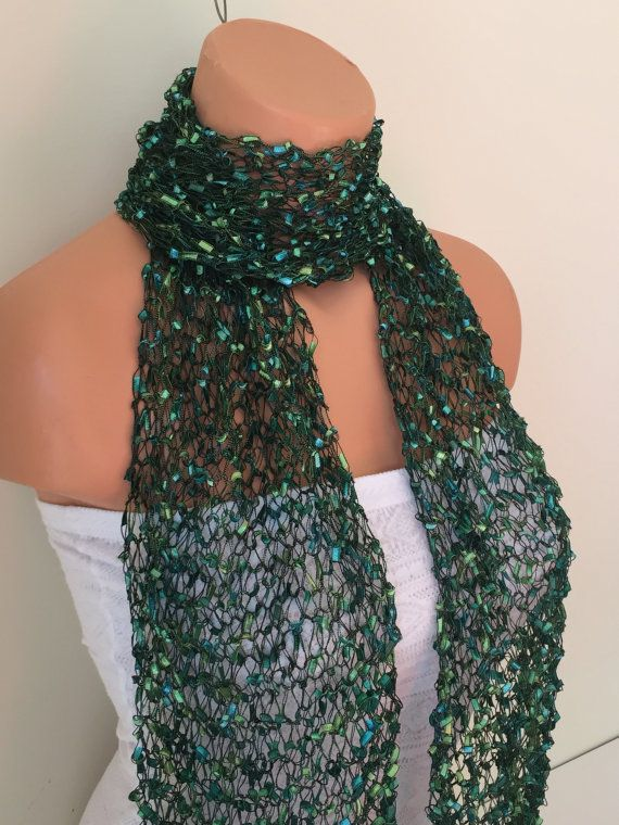 Ribbon Scarf Handmade Handknit Trellis Scarves Green Shades Grey