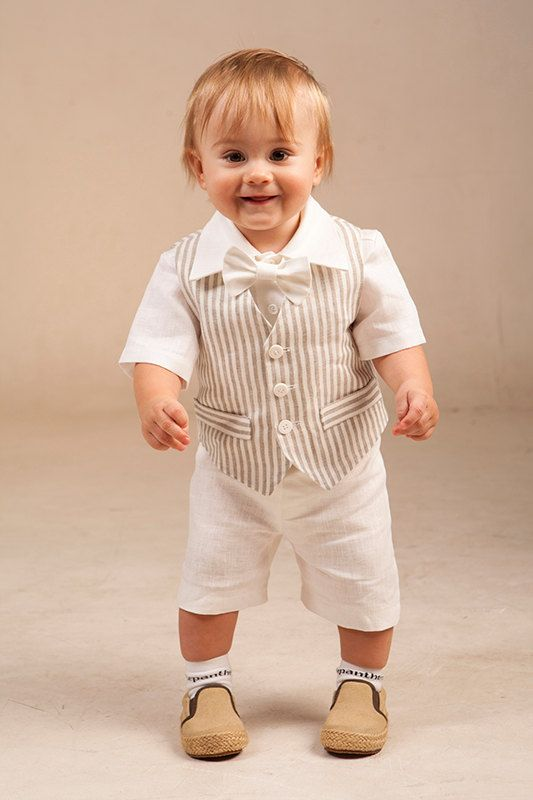 Baby boy linen suit Ring bearer outfit Boy baptism natural clothes 1st birthday outfit Rustic wedding boy outfit Boy formal vest pants shirt