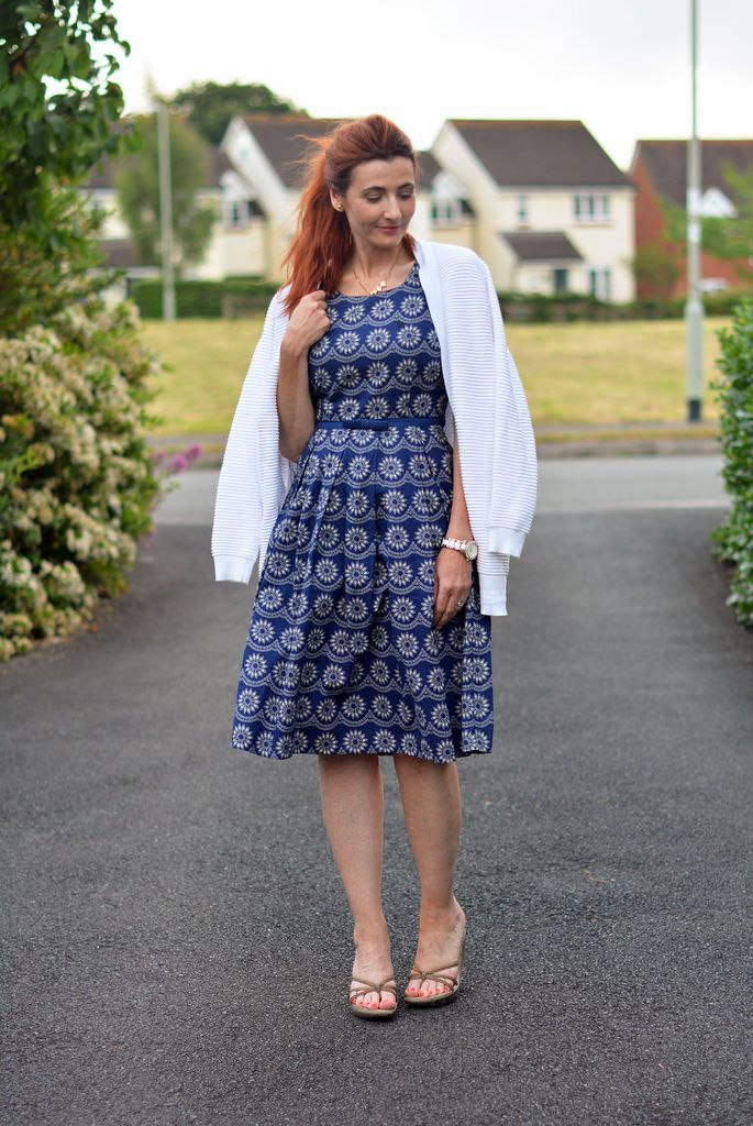 Navy Vintage-Style Fit-and-Flare Dress With Simple, Summery ...