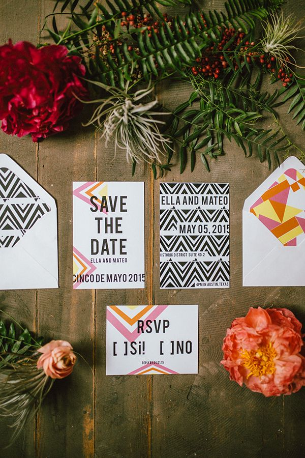 cinco de mayo wedding inspiration with macrame wedding invitations