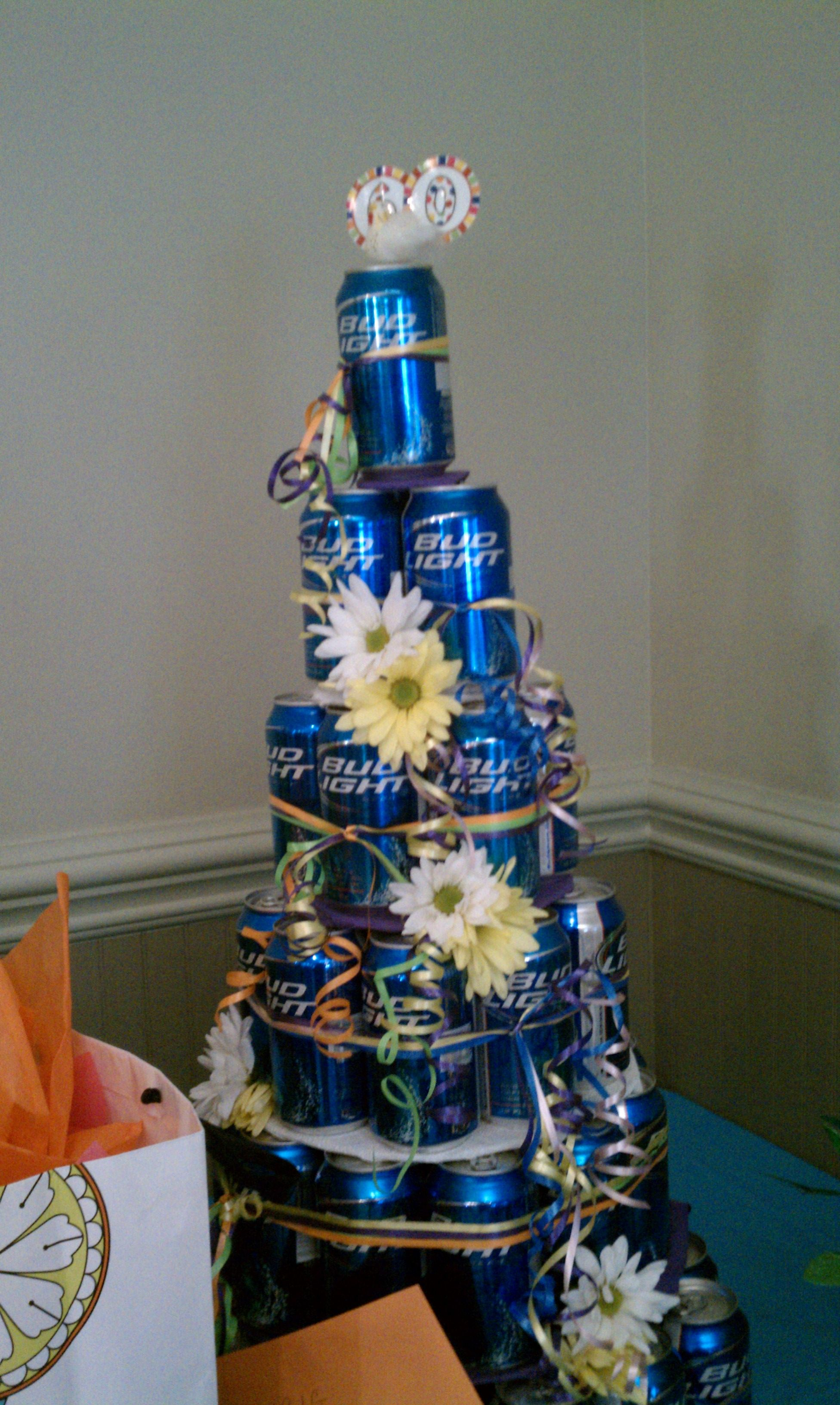 Beer Can Cakeminus The Flowersand Add Camo Ducktape - Beer Can Wedding Cake