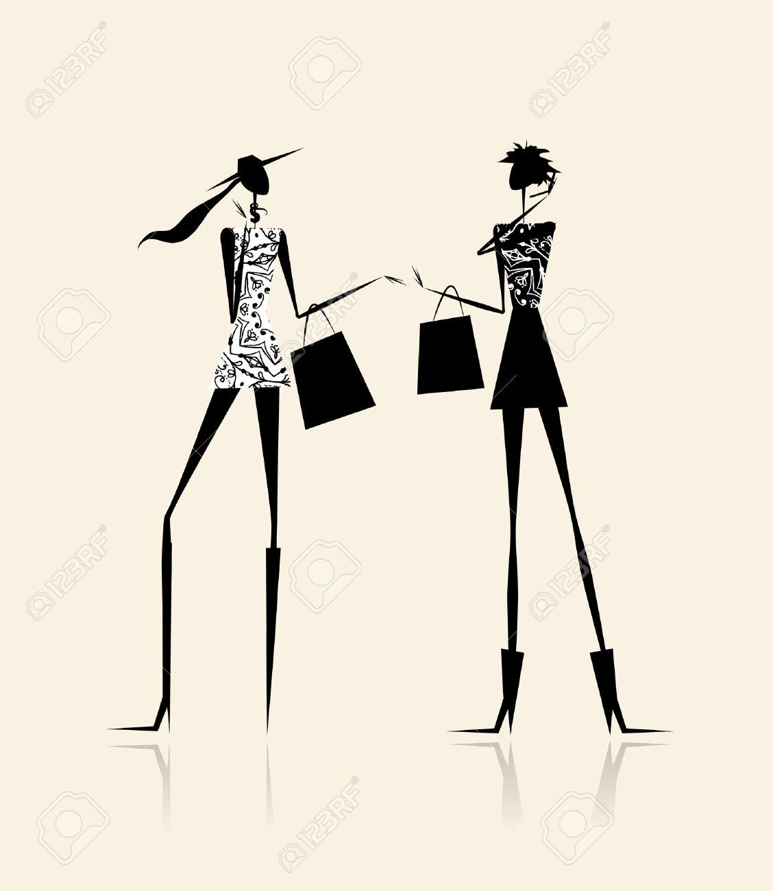 11476137 Fashion Girls With Shopping Bags Illustration For Your