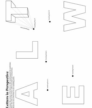 Worksheets One Point Perspective Worksheet one point perspective letters curves and student letters