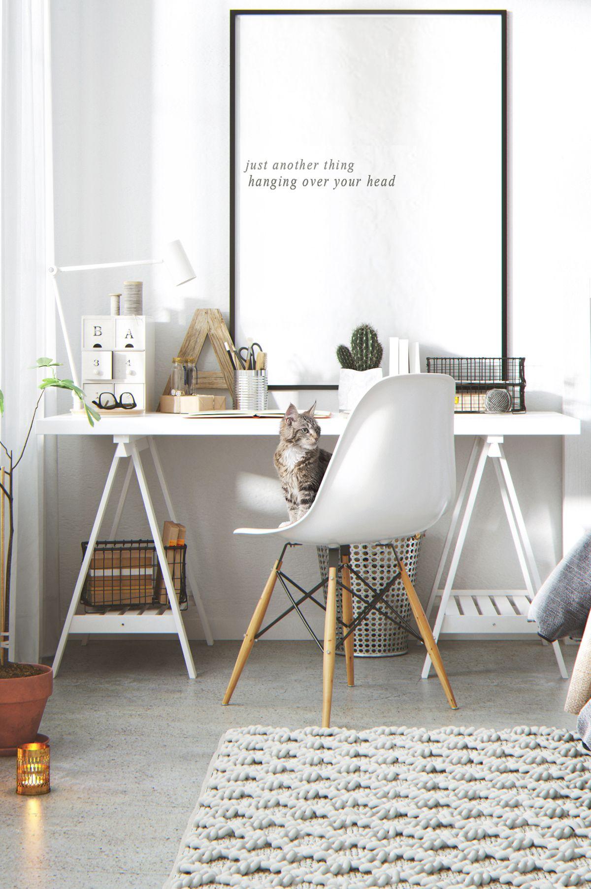 Un Bureau Blanc Sur Des Treteaux Deco Inspo Home Office