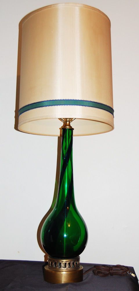 Vintage Murano Blown Glass And Brass Lamp From Italy Emerald Green W Cobalt Blue Murano Lamp Lamp Brass Lamp