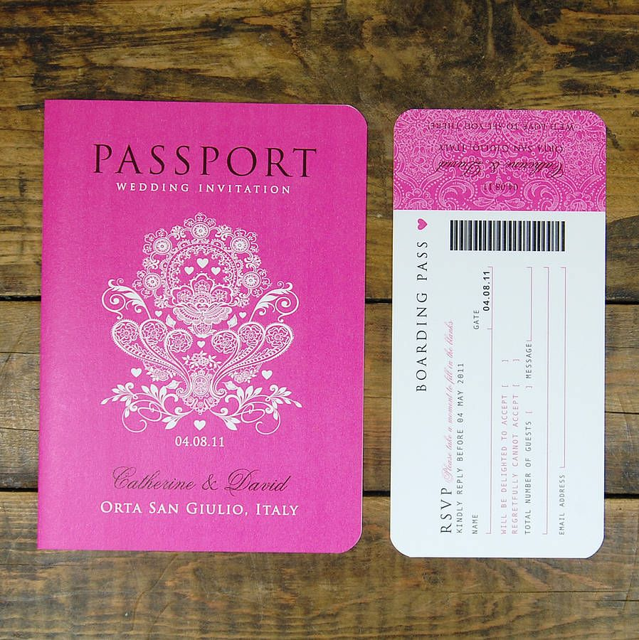 Passport To Love Travel Card Style Wedding Invitation | Boarding ...