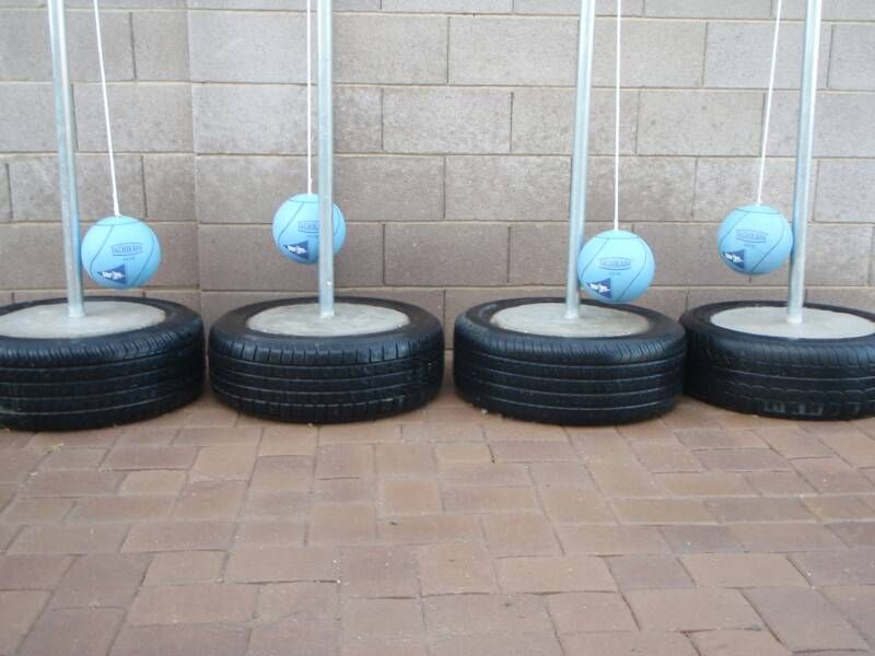 Http Www Tiretetherball Learn How To Make A Portable Concrete Tetherball Stand Or Pole That Is Made Out Of Cement And An Old Tire Html