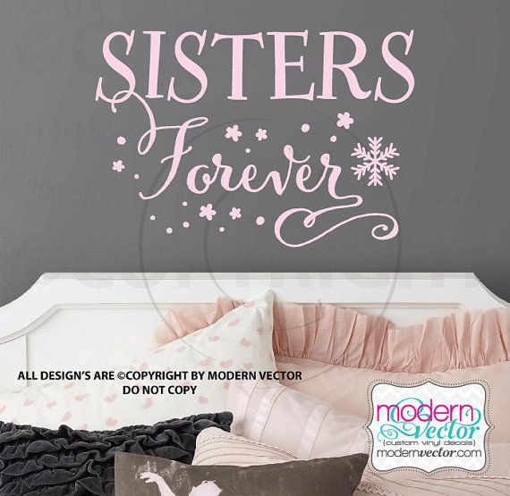 Frozen quote vinyl wall decal lettering sisters by modernvector for the home pinterest wall decals frozen bedroom and walls