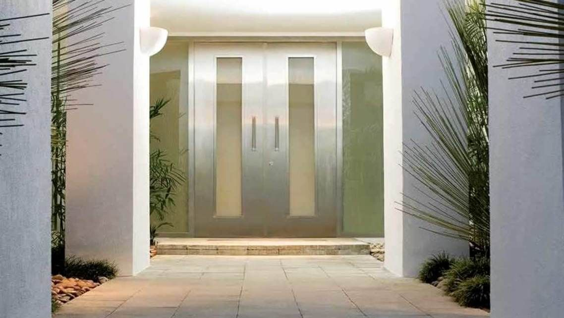 Beautiful White Color Wood Glass Modern Design Steel Double Entry Doors For Home Interiors Be Equipped Grip And Windows At Home With Steel Entry Doors Plus Custom Entry Doors, Modern Design Double Entry Doors For Home Wonderful: Exterior, Furniture