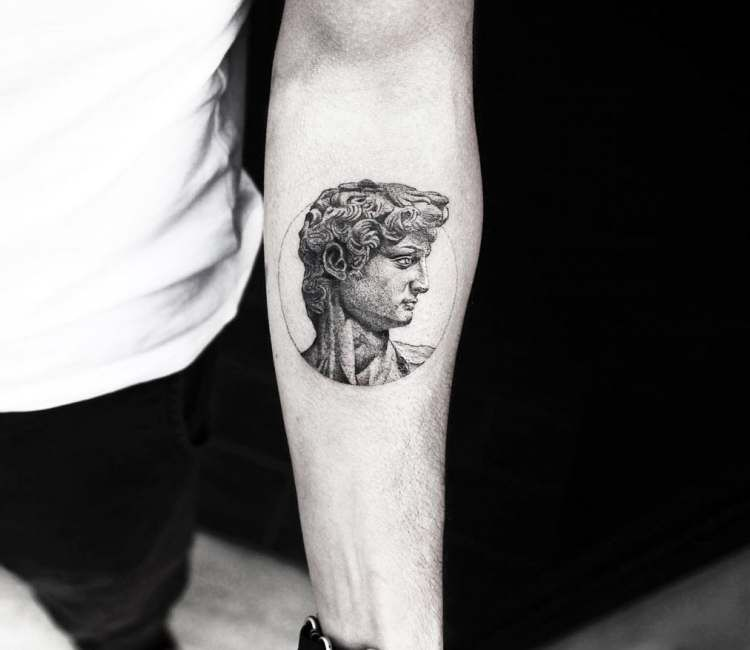 Bust of David tattoo by Alessandro Capozzi