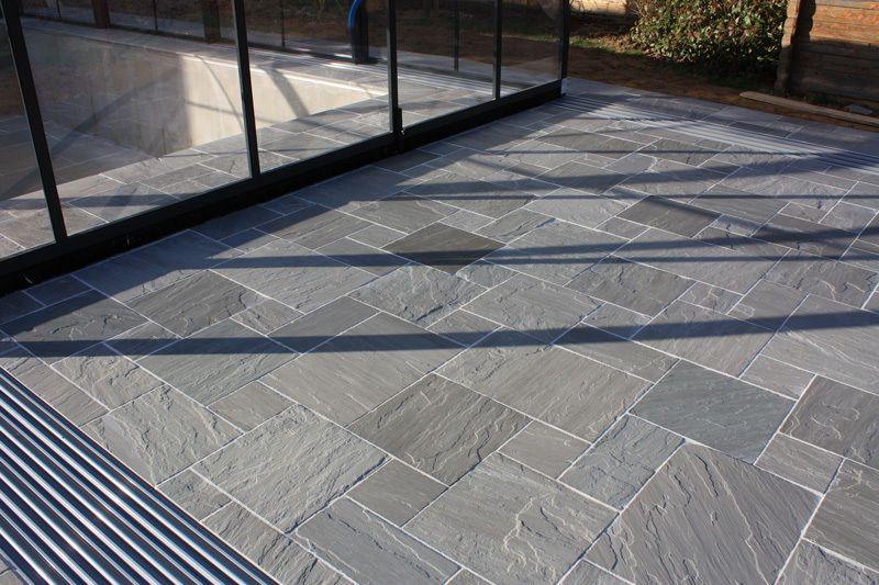 kandla grey indian sandstone paving natural stone patio flags garden slabs patios porches. Black Bedroom Furniture Sets. Home Design Ideas