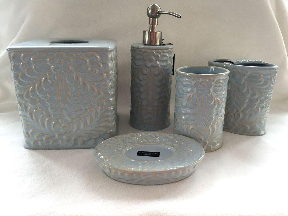 Cynthia Rowley Aqua Fl Ceramic Bathroom Accessories Set Of 5 New Cynthiarowley