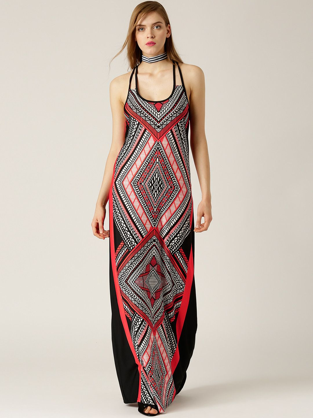 Quiz red u black printed maxi dress red black printed maxi