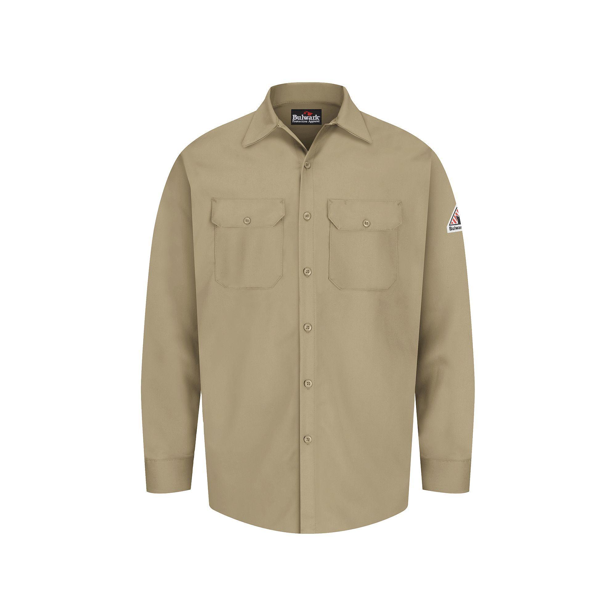 Men's Bulwark FR Excel FR Work Shirt, Size: Medium, Beig/Green (Beig/Khaki), Durable