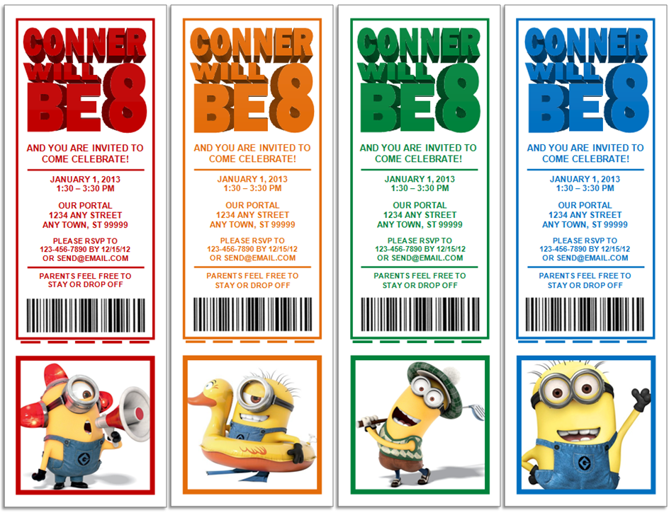 Despicable Me 2 Minions Birthday Party Invitations UPrint 4