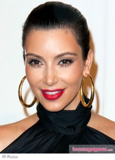 Red Lips Classic Cat Eye Big Gold Hoop Earrings Kim Kardashian