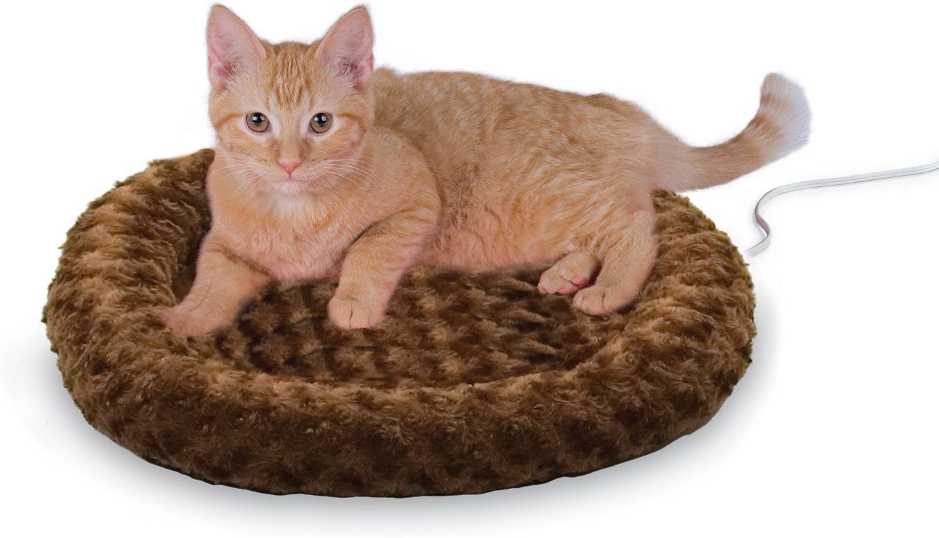 K&H PET PRODUCTS Thermo-Kitty Fashion Splash Cat Bed, Mocha - Chewy.com