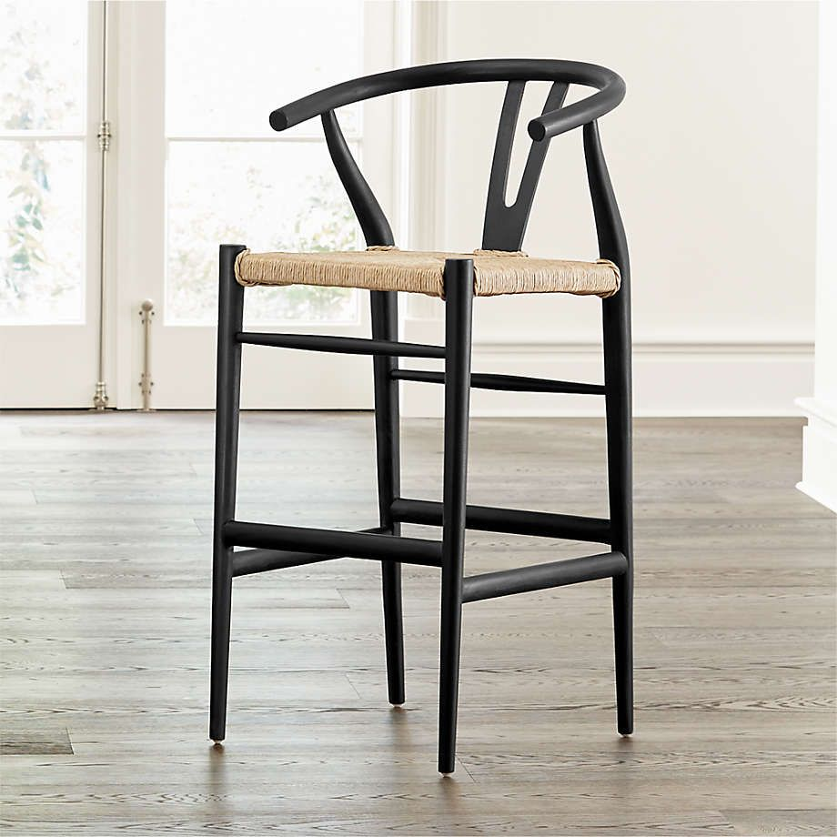 Crescent Black Rush Seat Bar Stools Crate And Barrel In 2021 Bar Stools Handcrafted Stool Gray Dining Chairs