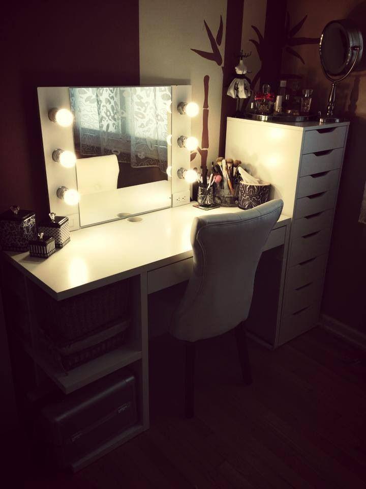 Ikea Alex and Mickey desk DIY makeup vanity Cool makeup ideas at :)))) www.katvonm.com | Makeup ...