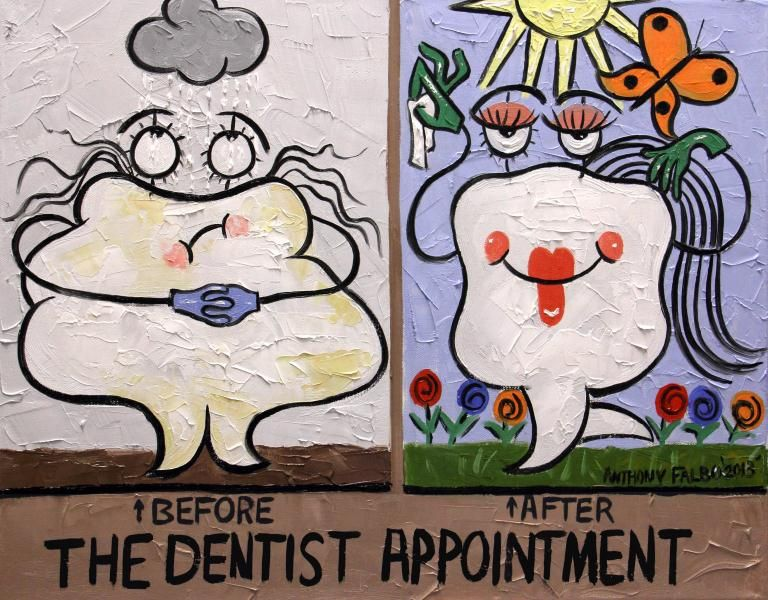 Before & After The #Dentist Appointment #funny painting by Anthony Falbo