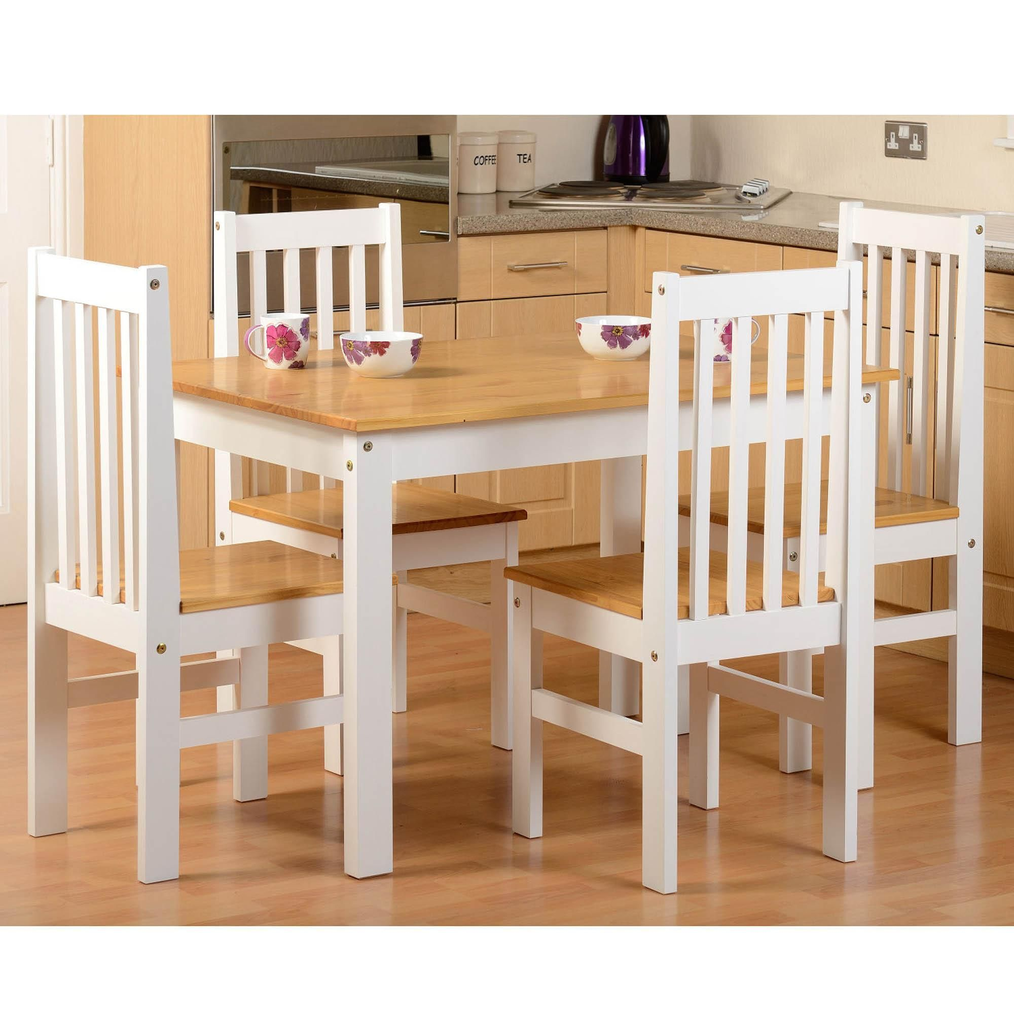 Wooden White And Brown Ludlow 4 Seater Dining Set At Dunelm