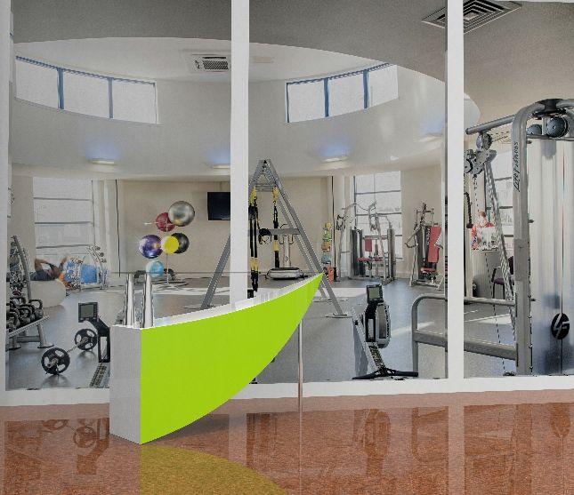 Saskia hill. fully rendered model of reception desk in gym
