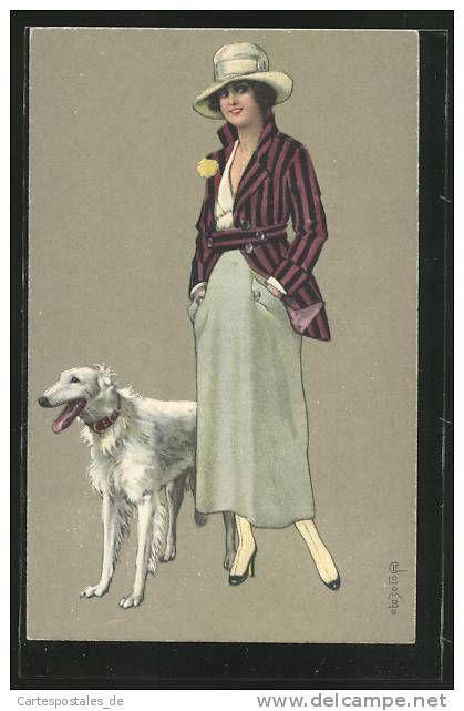 Artiste-CPA E.Colombo: junge Frau mit gestreifter Jacke und Hut, Windhund