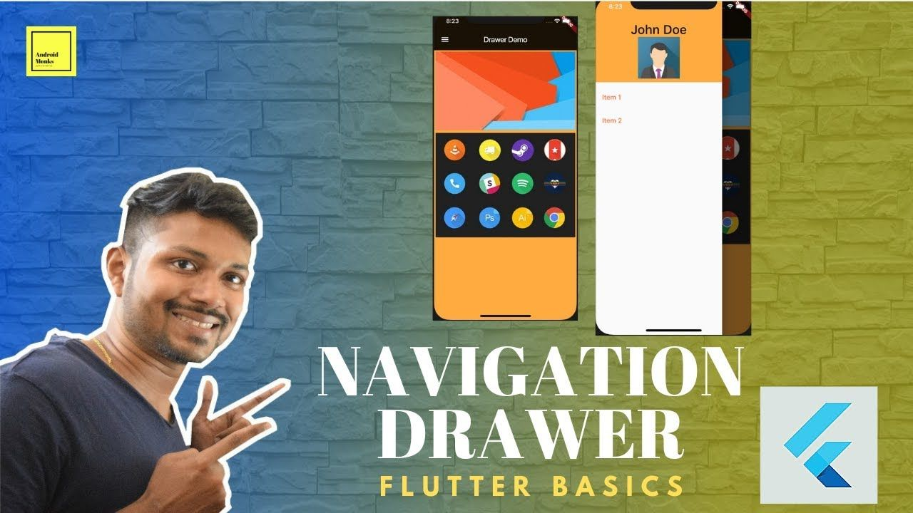 Material Navigation Drawer in Flutter Using Scaffold