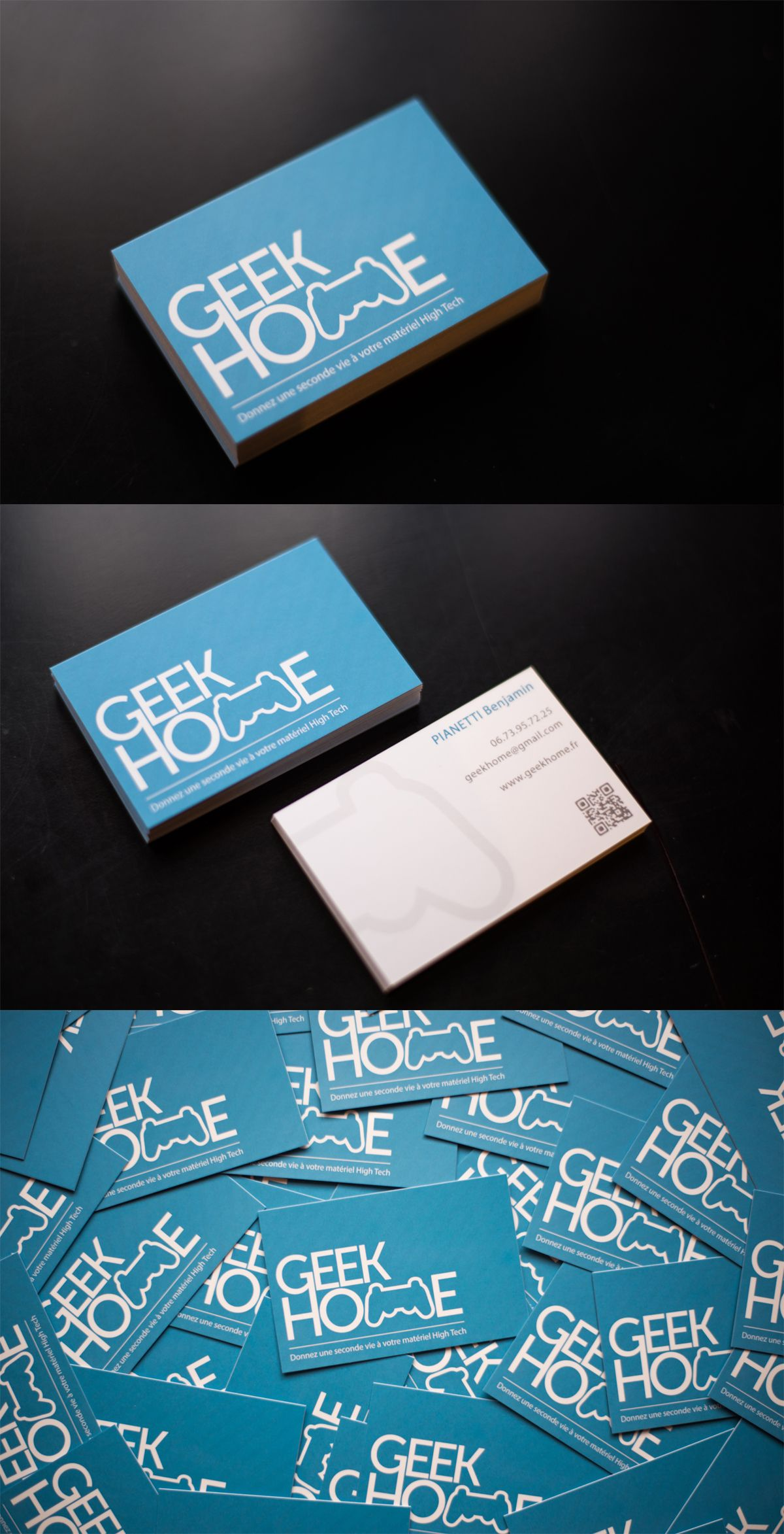 Creation De Logo Et Carte Visite Pour Lentreprise Geek Home Specialiste Dans La Reparation Materiel High Tech Businesscard