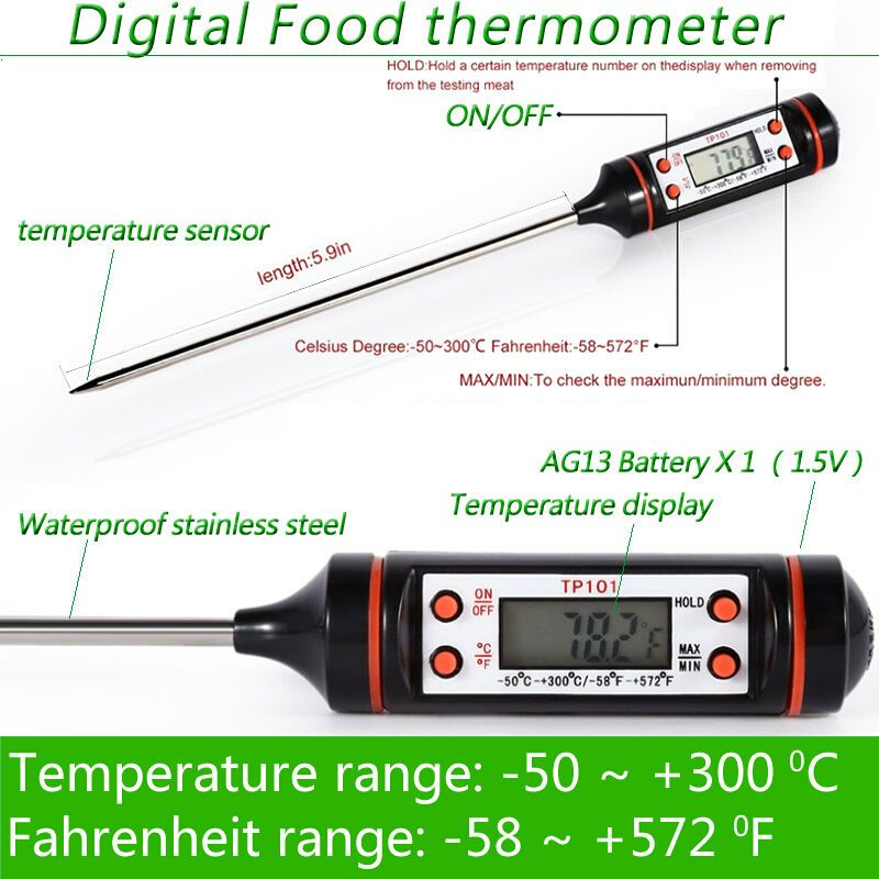 Electronic Digital Thermometer Instruments Hydrometer Meat Food Probe Kitchen Cooking Weather Station Temperat Digital Thermometer Thermometer Weather Station