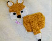$19.49 Ready Newborn Baby Boy Crochet Fox Outfit, Newborn fox hat and tail diaper set, Newborn fox photo prop. Newborn fox outfit, fox costume