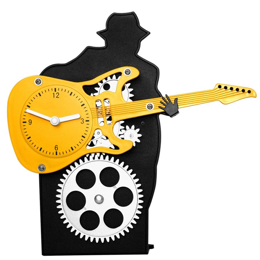 Creative Guitar Rotary Gear Desk Clock Art Table Watch Crafts 8.6 ...