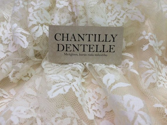 Champagne lace fabric Chantilly Lace French by ChantillyDentelle