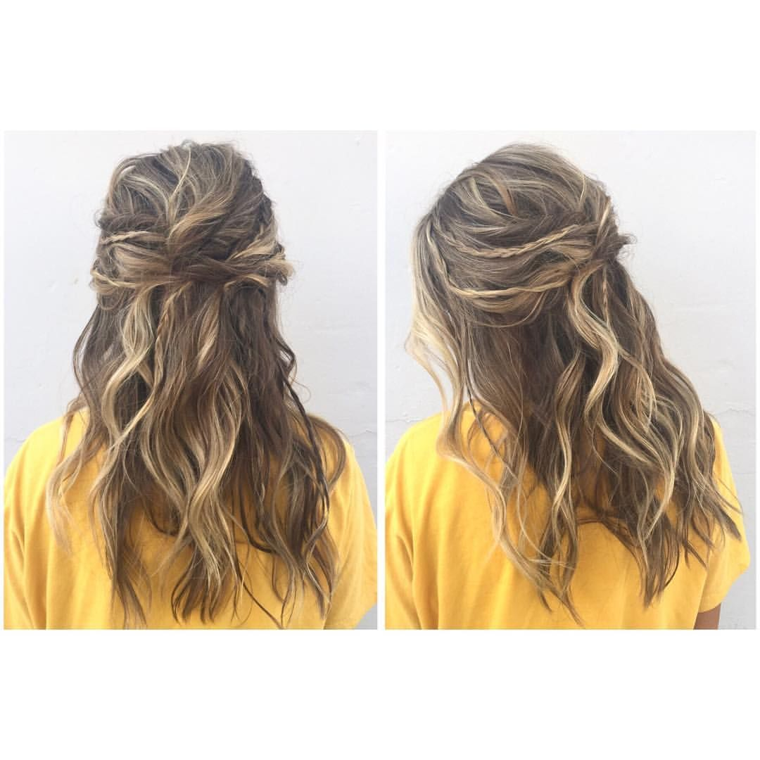 Boho Hair Prom Updo With Braids And Twists Messy Waves Half Up Down