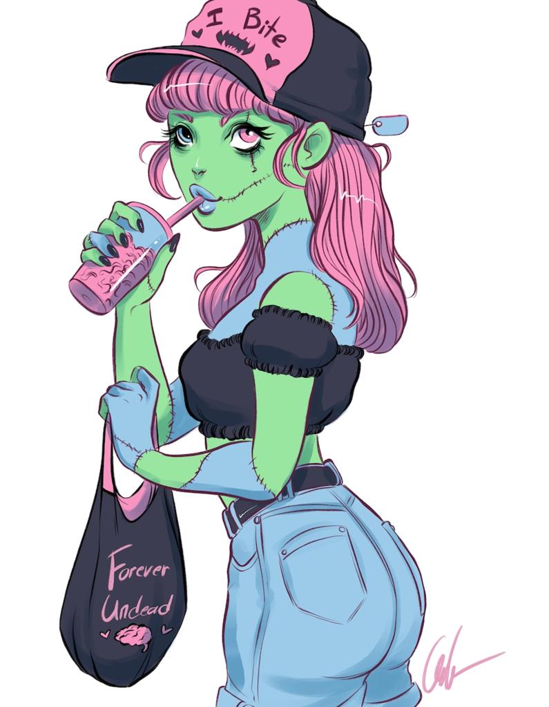 Brain Slushy Fantasy Character Design Cute Zombie Undead Art
