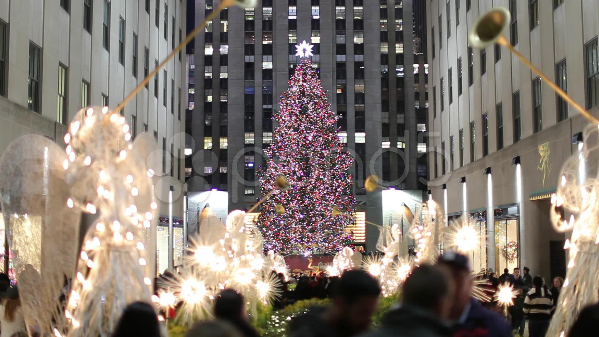 Rockefeller Center Christmas tree in New York City tilt down 25p Stock Footage,#tr ...