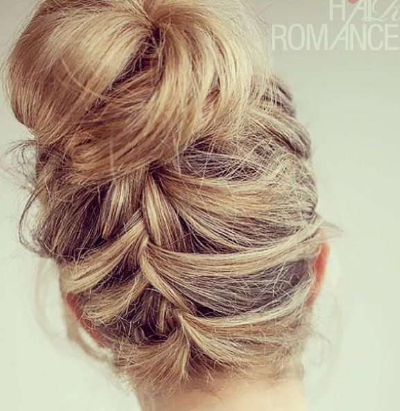 Upwards french braid bun